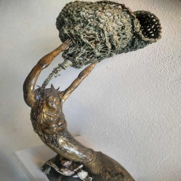 Ahşap Denizkızı Abajur (Sanat Eseri)