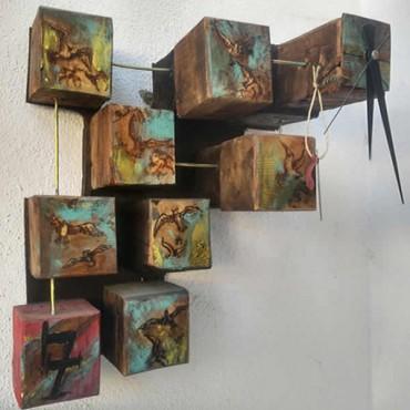 Ahşap Duvar Saati  - Sanat Eseri Ahşap Oyma