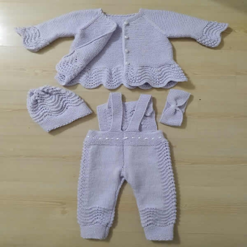 Örgü Bebek Tulum Yelek Takımı - El Örgüsü